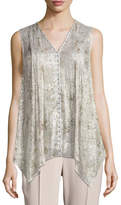 Elie Tahari Elle Sleeveless Metallic Silk-Blend Blouse