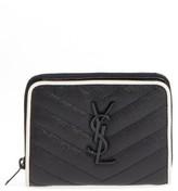 Saint Laurent Women's Monogram Zip Leather Wallet - Black