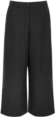Eileen Fisher Charcoal Wide-leg Cropped Wool Trousers