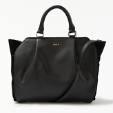 DKNY Calf Suede Small Gusseted Satchel Bag, Black