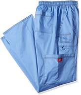 Dickies Men's Big and Genflex Contrast Drawstring Cargo Scrub Pant, Ceil Blue, Large/Tall