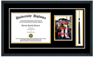 "Perfect Cases, Inc. Single Diploma Frame w/ Tassel & Double Matting, Classic Black, 14""x17"