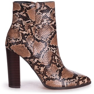 Linzi LUCY - Mocha Snake Nappa Ankle Boot With Stacked Block Heel