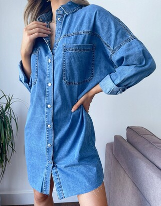 New Look oversized denim shirt in mid blue