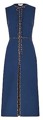 Fendi Women's Logo Trim Wool Crepe Sheath Dress