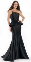 Morrell Maxie Asymmetrical Strapless Pleated Mikado Evening Dress