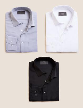 Marks and Spencer 3 Pack Regular Fit Long Sleeve Shirt