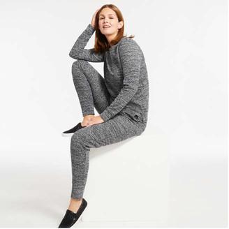 Joe Fresh Women's Jacquard Knit Joggers, Dark Charcoal Mix (Size M)