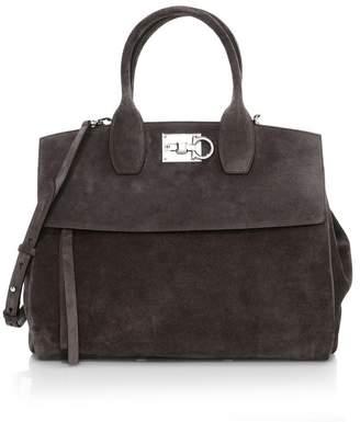 Salvatore Ferragamo Medium Studio Suede Top Handle Bag