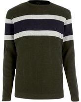 River Island MensDark green block stripe sweater