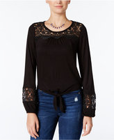 American Rag Crocheted Tie-Front Peasant Top, Only at Macy's