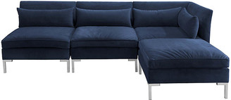 One Kings Lane Marceau Reversible Sectional - Silver/Navy Velvet