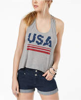 Hybrid Juniors' Usa Knotted-Back Graphic Tank Top