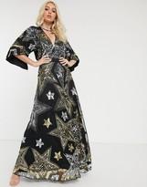 Asos Design DESIGN embellished star cape detail maxi dress