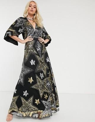 Asos Design DESIGN embellished star cape detail maxi dress-Black