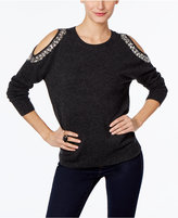 INC International Concepts Embellished Cold-Shoulder Sweater, Only at Macy's
