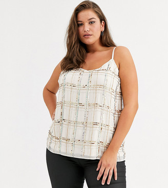 Simply Be embellished cami top in cream