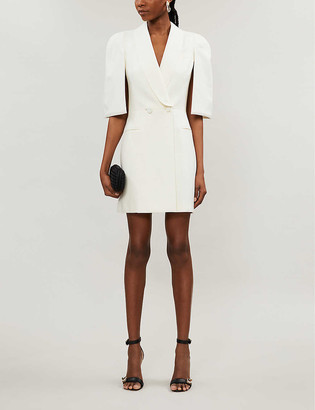 Alexander McQueen Cape-overlay wool and silk-blend mini dress