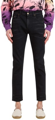 Saint Laurent Cropped Coated Jeans