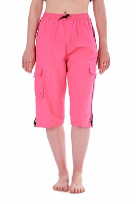 Malay Ladies Quick Dry Swimming Shorts 3/4 Length Mesh Lined Summer Cargo Swimwear Electric Pink