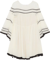 Chloé Striped Silk-crepon Mini Dress - Cream