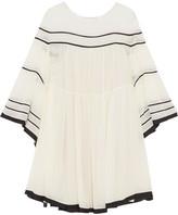 Chloé Striped Silk-crepon Mini Dress - Cream