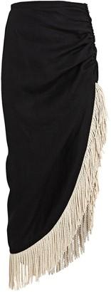 Just BEE Queen Mallorca Fringed Linen Midi Skirt