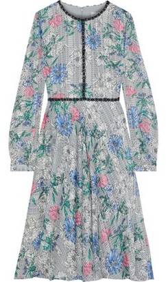 Mikael Aghal Crochet-trimmed Floral-print Jacquard Dress