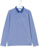 Armani Junior logo long sleeve polo shirt - kids - Cotton - 14 yrs