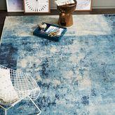 west elm Distressed Rococo Wool Rug - Blue Lagoon