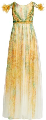 Marchesa Printed Tulle Gown