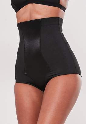 Missguided Premium Black Satin Insert High Waisted Control Knickers