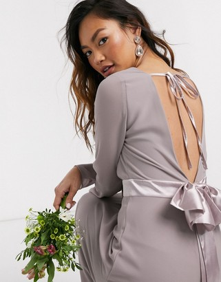 TFNC Bridesmaids long sleeve bow back maxi dress in grey