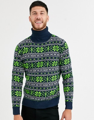 NATIVE YOUTH christmas fairisle roll neck in navy with neon green pattern