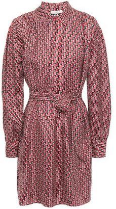 Joie Razi Belted Printed Silk-twill Mini Shirt Dress