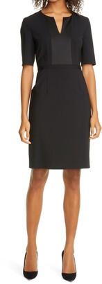 HUGO BOSS Deriba Satin Detail Stretch Wool Sheath Dress