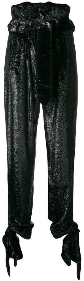 ATTICO paperbag waist velvet trousers