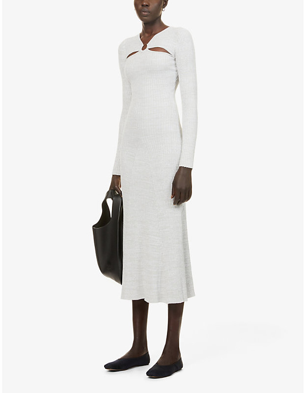 Thumbnail for your product : ANNA QUAN Halle cotton-blend knitted midi dress