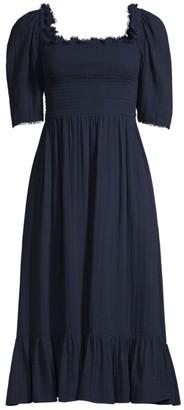 Rebecca Taylor Gauze Smocked Puff-Sleeve A-Line Dress