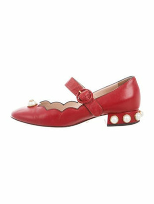 Gucci Embellished Leather Mary Jane Pumps Red