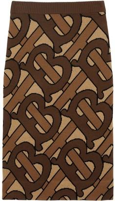 Burberry Monogram Intarsia Wool Pencil Skirt