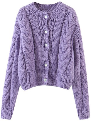 Goodnight Macaroon 'Isabella' Cable Knit Button Down Cardigan (4 Colors)