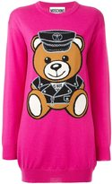 Moschino biker teddy bear knit dress