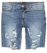 River Island Mens Mid blue distressed raw hem denim shorts