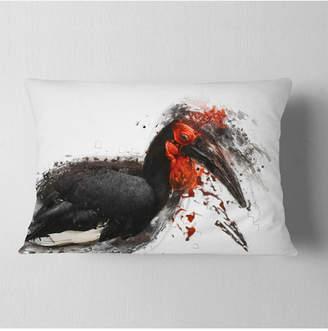 """Designart Relaxing Large Exotic Bird Animal Throw Pillow - 12"""" X 20"""""""