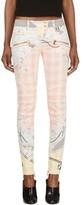 Balmain Pink Chain & Check Print Biker Jeans