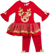 Rare Editions 2-Pc. Reindeer Tunic & Leggings Set, Toddler & Little Girls (2T-6X)