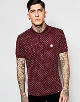 Pretty Green Polo Shirt With Polka Dot In Red