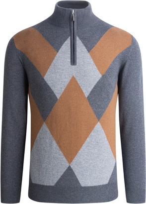 Bugatchi Argyle Quarter Zip Sweater