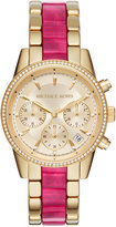 Michael Kors Women's Chronograph Ritz Gold-Tone Stainless Steel & Sangria Acetate Bracelet Watch 37mm MK6517, a Macy's Exclusive Style